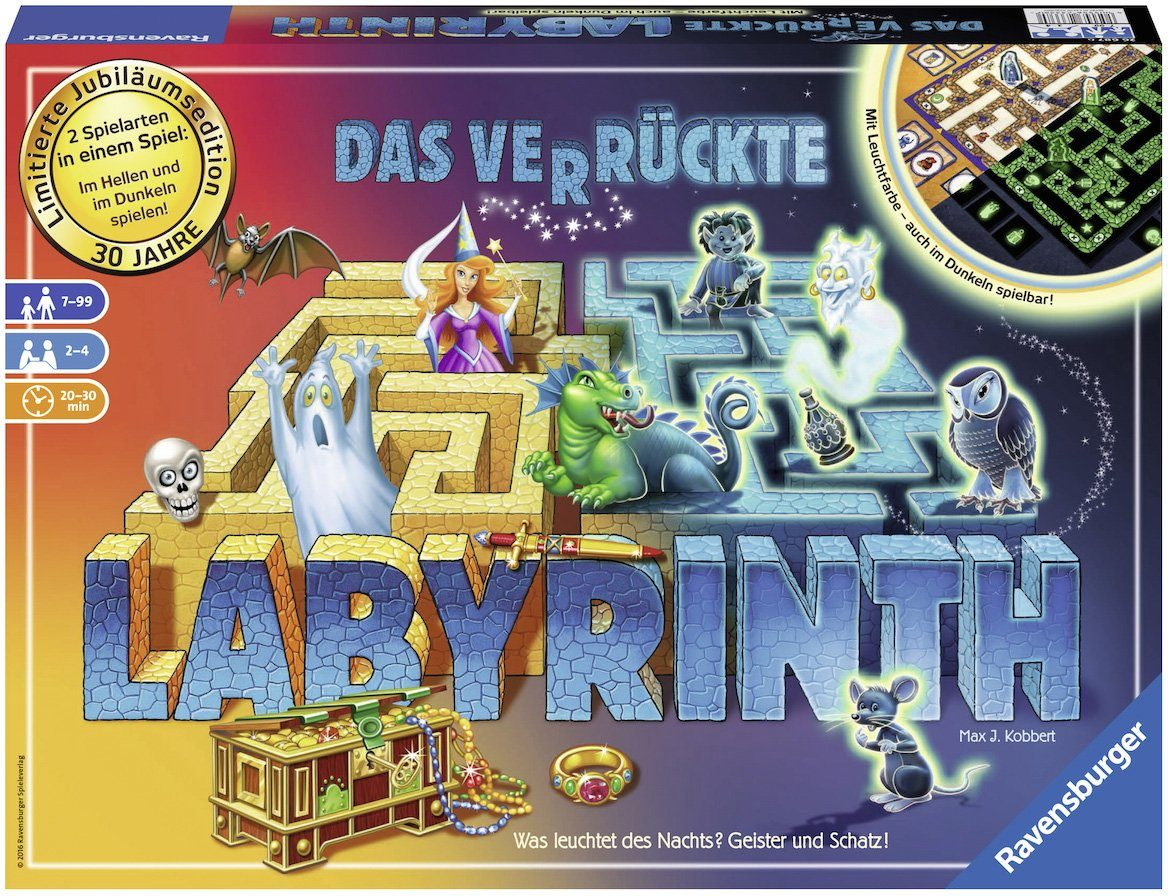 Ravensburger Brettspiel fluoresziert im Dunkeln, »Das verrückte Labyrinth 30 Jahre Jubiläumsedition«