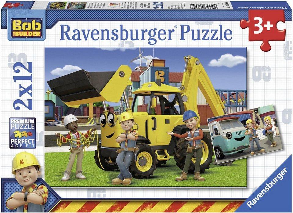 Ravensburger Puzzle, 2x12 Teile, »Bob der Baumeister, Bob und sein Team«