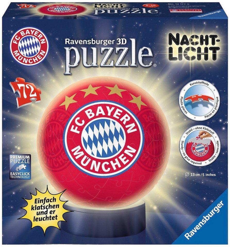 Ravensburger 3D Puzzle, 72 Teile mit Leuchtfunktion, »Nachtlicht FC Bayern München«
