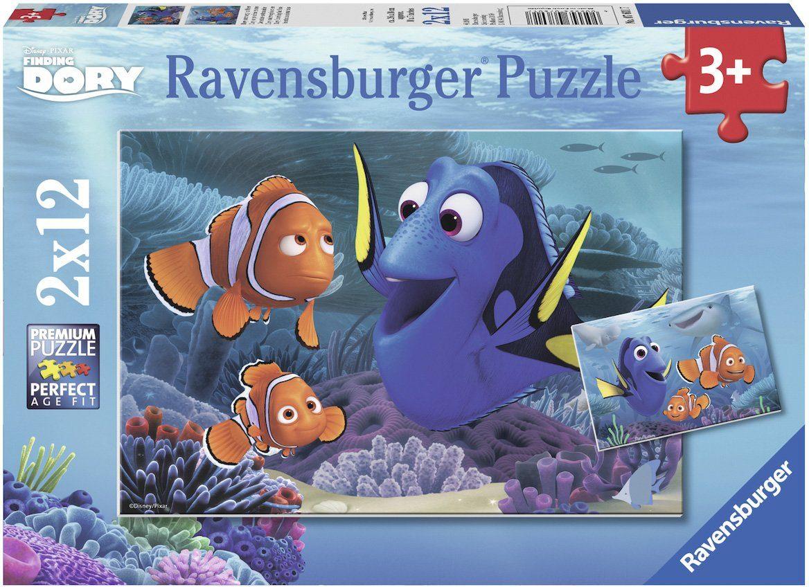 Ravensburger 2x12 Teile Puzzles, »Disney Pixar, Finding Dory, Disney Findet Dorie«