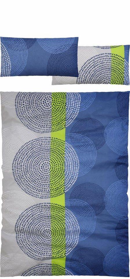 Bettwäsche, my home, »Terry«, mit modernen Kreisen in blau-grün