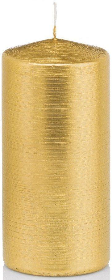 Wiedemann Flachkopf Stumpenkerze 4er-Set, gebürstete Oberfläche in Metalliclack-Optik, Höhe 15 cm in goldfarben