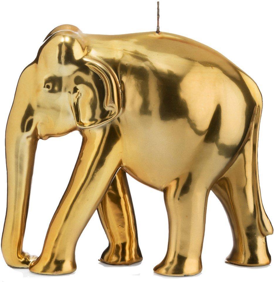 Wiedemann BIG Edition dekorative Kerze »Elefant«, goldfarben in goldfarben, spiegellackiert
