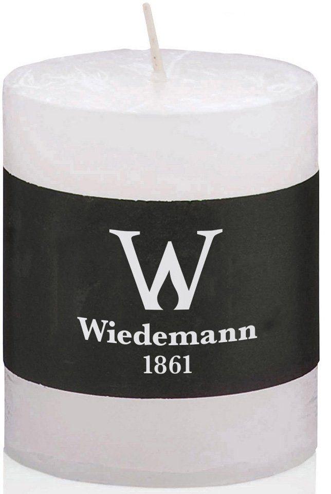 Wiedemann Marble durchgefärbte Kerze mit Banderole, 4er-Set in 2 Größen in weiß