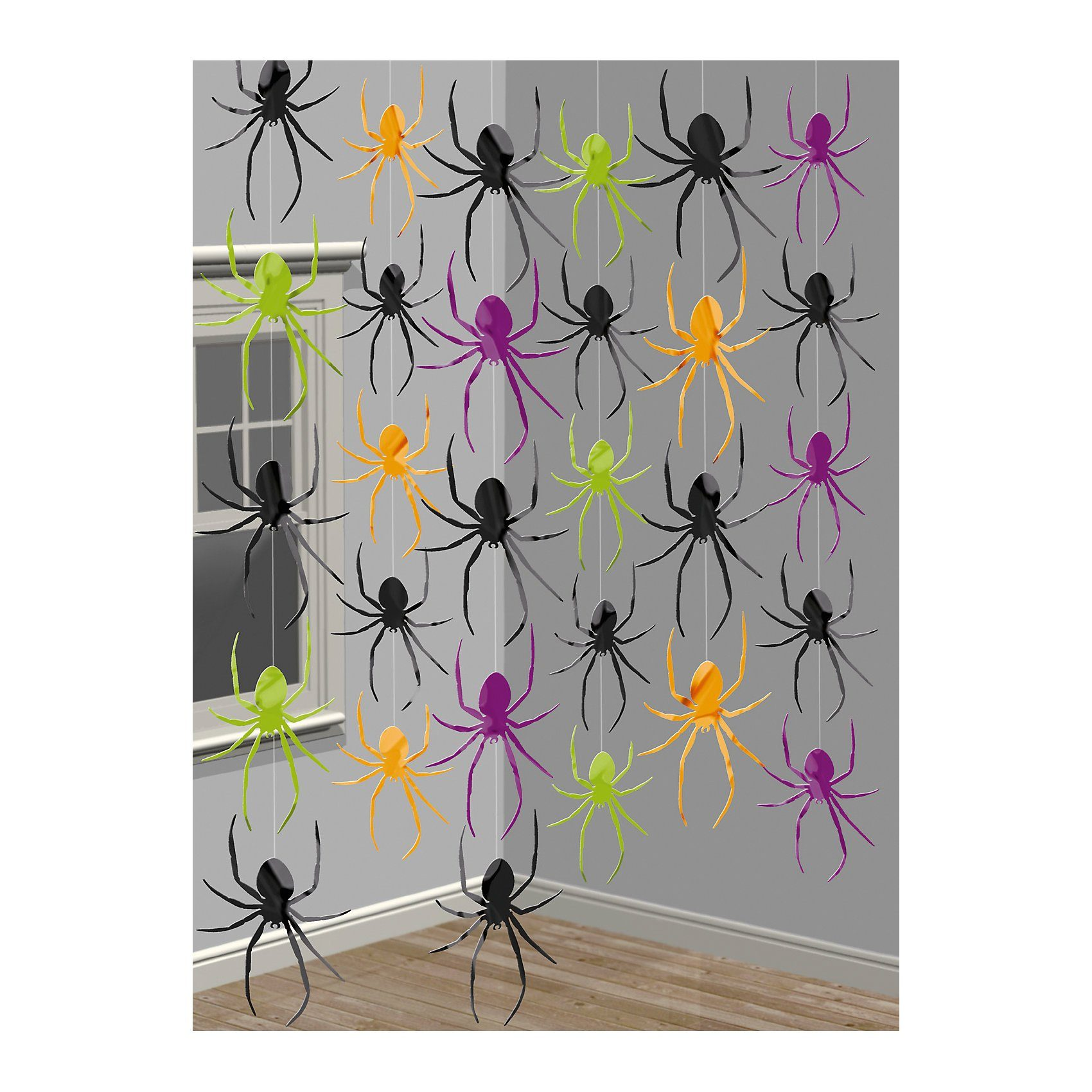 Amscan Hängedeko Spinnen Halloween Classic, 2,1 m, 6 Stück