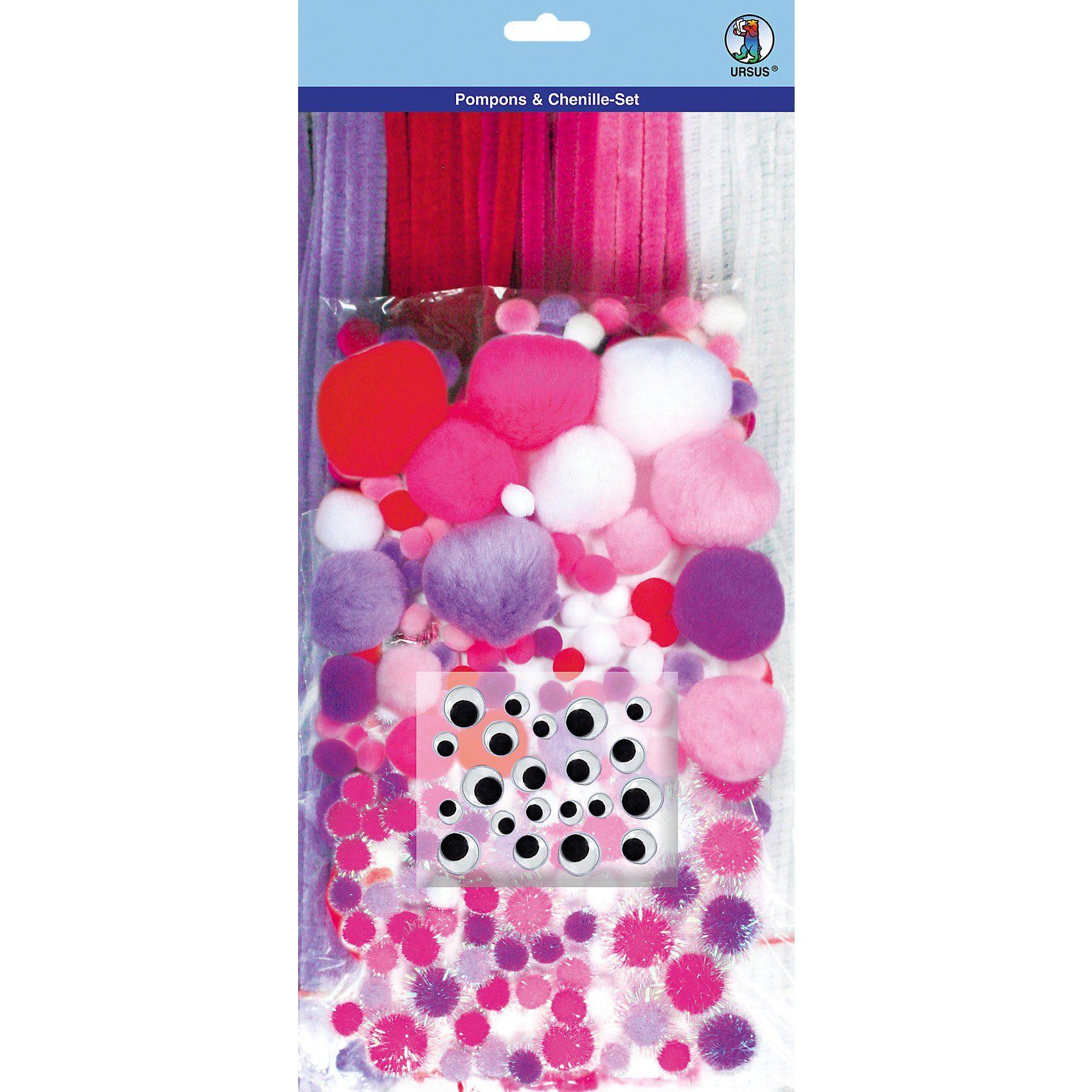 URSUS Pompons & Chenille-Set, lila/pink