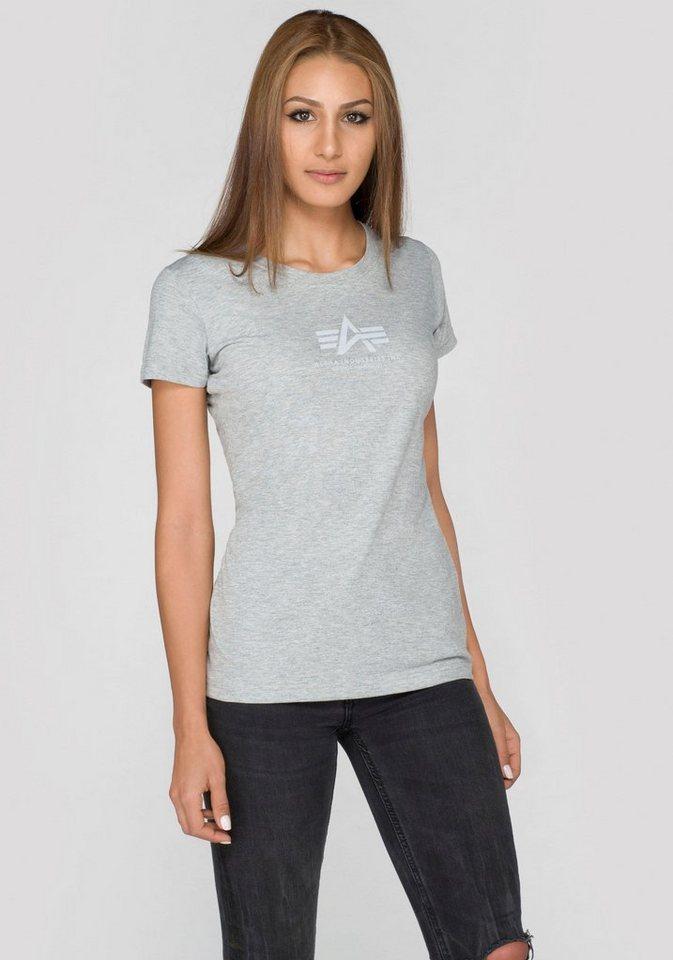 Alpha Industries T-Shirt »Basic T Wmn« mit kleinem Markenlogo-Print in grau