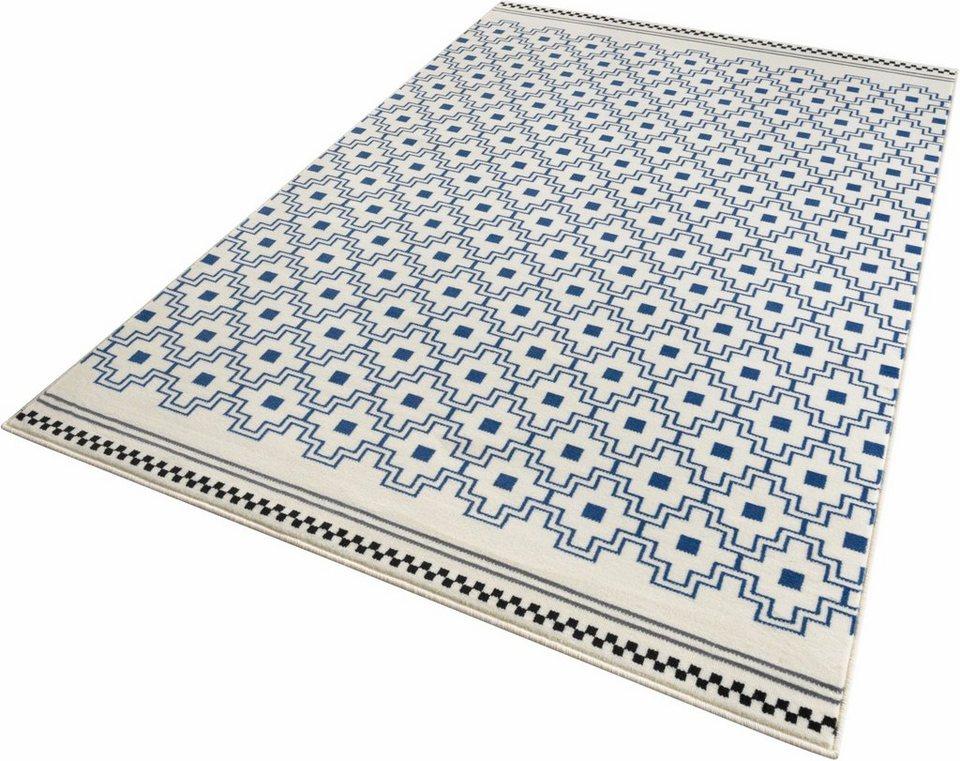 Teppich, Zala Living, »Cubic«, gewebt in blau creme