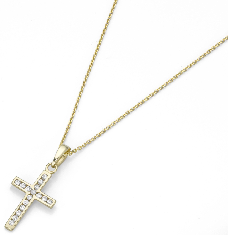 Firetti Kette mit Anhänger »Kreuz«, mit Zirkonia