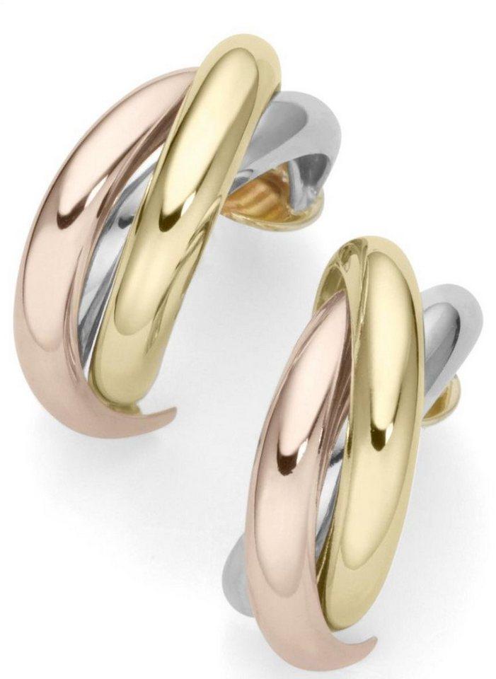 Firetti Paar Creolen in Gelbgold 375-Rotgold 375-Weißgold 375