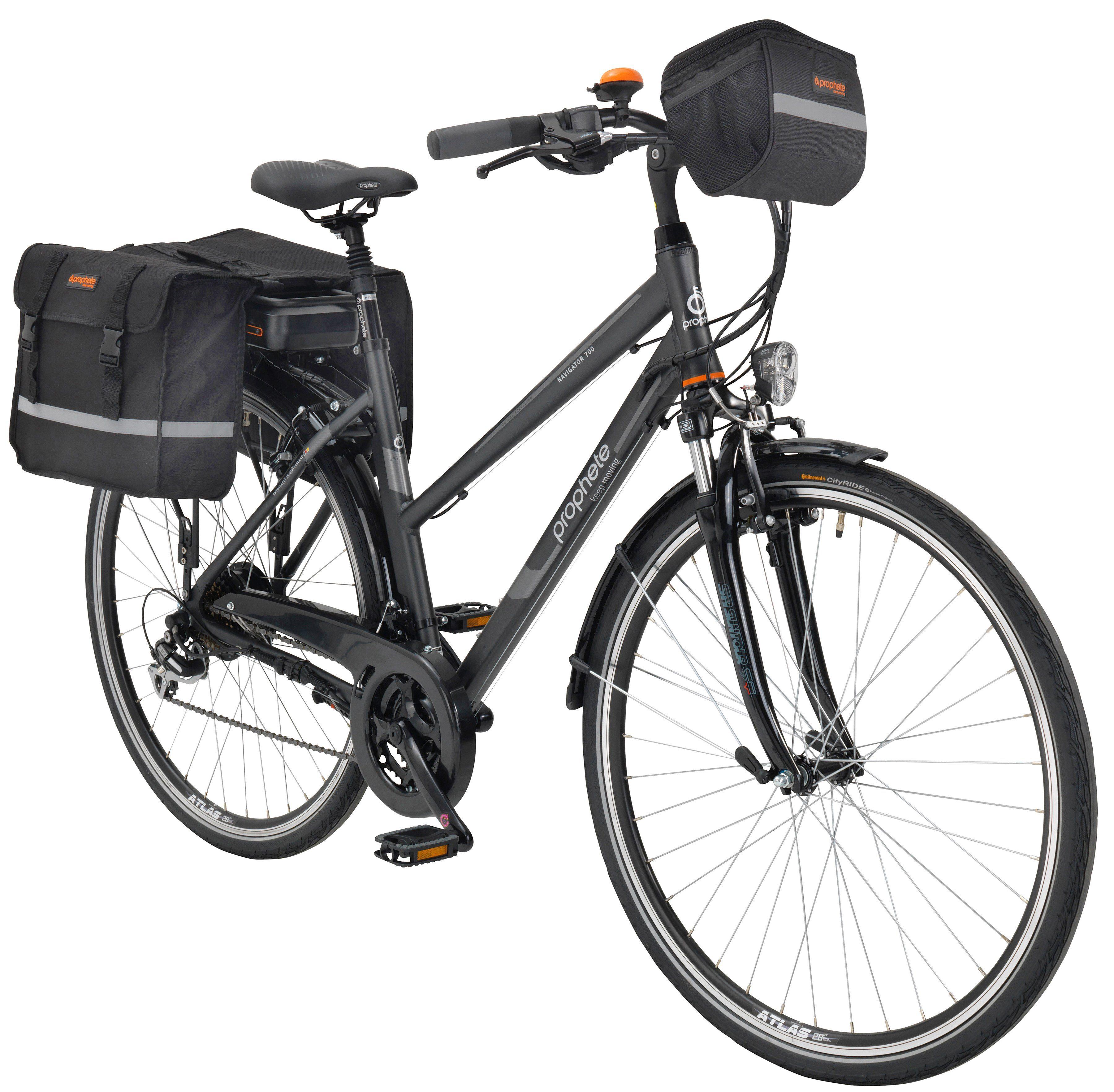 PROPHETE E-Bike Trekking Damen »Navigator 700«, 28 Zoll, 24 Gang, Heckmotor, 374 Wh