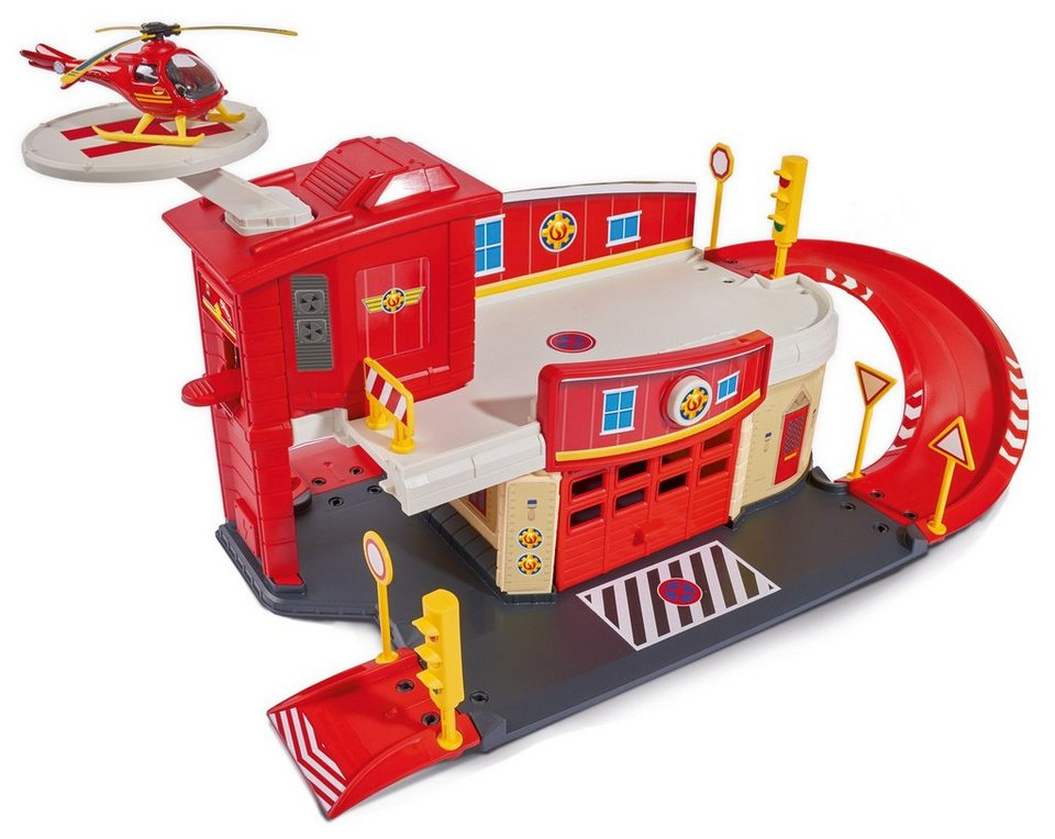 Dickie Toys Spielzeugset mit Helikopter, »Feuerwehrmann Sam Fire Rescue Centre« in rot