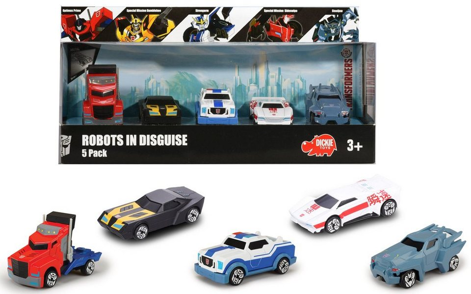 Dickie Spielset mit 5 Fahrzeugen, »Transformers Robots in Disguise 5 Pack«