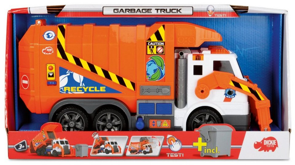 Dickie Müllwagen mit Licht und Sound, »Action Series Garbage Truck« in orange/weiß