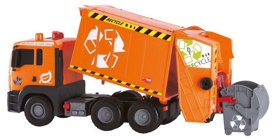 Dickie Spielzeug LKW, »Air Pump Garbage Truck« in grau/orange