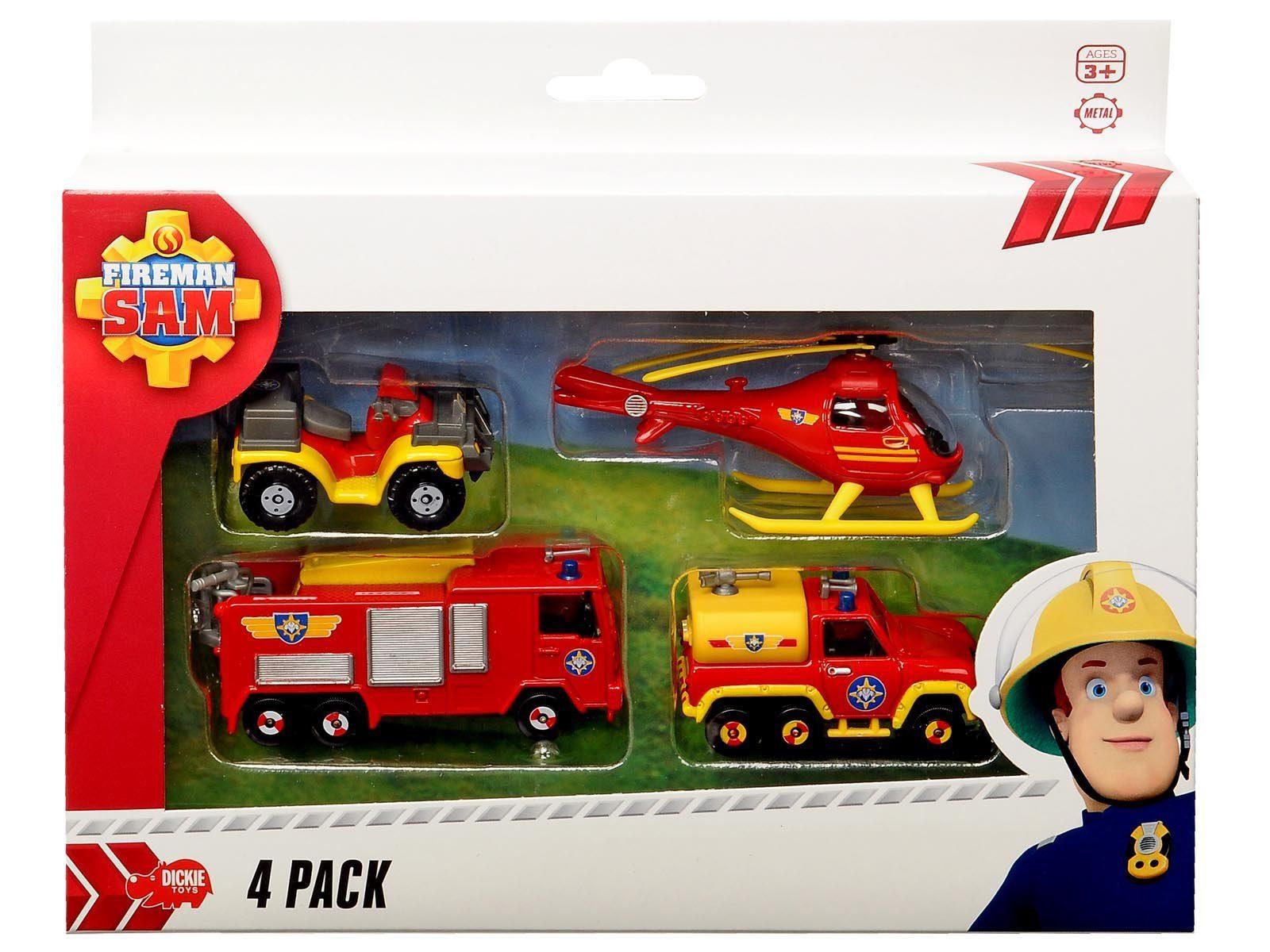 Dickie Spielzeugset mit verschiedenen Fahrzeugen, »Feuerwehrmann Sam 4er Pack«