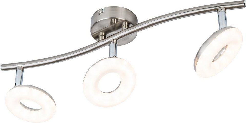 Nino LED-Deckenleuchte, 3flg., »DONUT« in nickelfarben,weiß