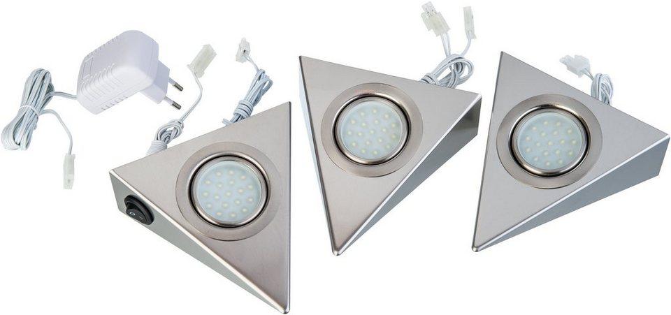 Nino LED-Unterbauleuchte, 3er Set., »DREIECK« in chromfarben