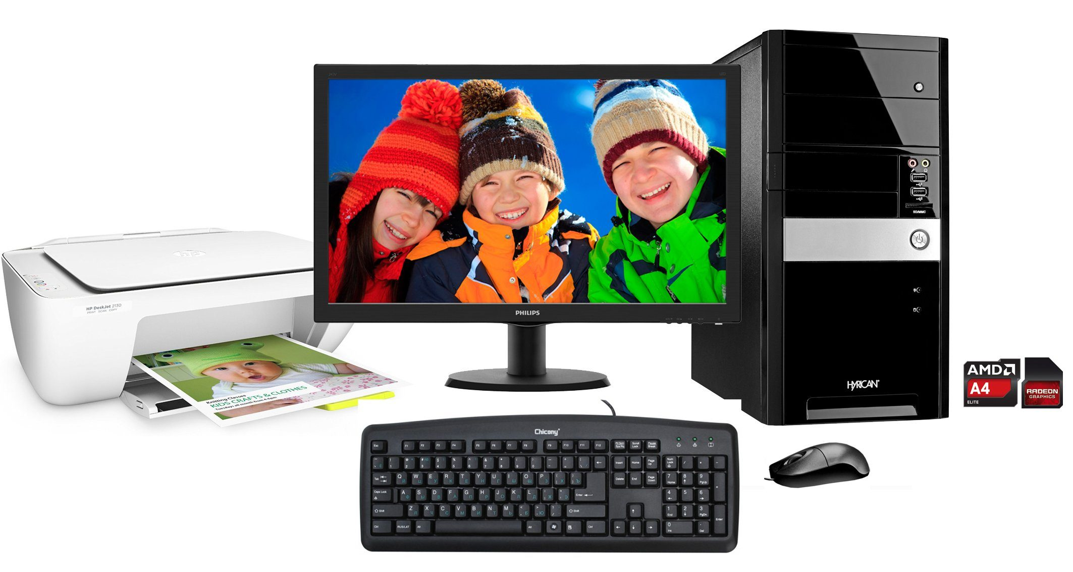Hyrican PC Set, AMD A4-7300, 8GB, 2TB, Windows 10 + Monitor + Drucker »SET01092«