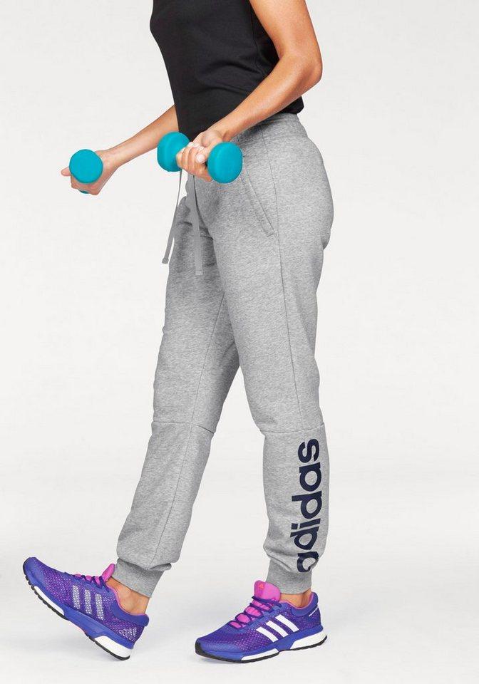 adidas Performance Jogginghose »ESSENTIALS LINEAR PANT« in grau-meliert-marine