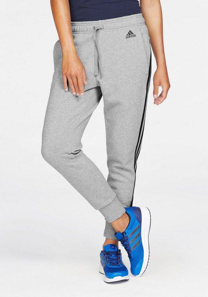 adidas Performance Jogginghose »ESSENTIALS 3 STRIPES TAPERED PANT« in grau-meliert-marine