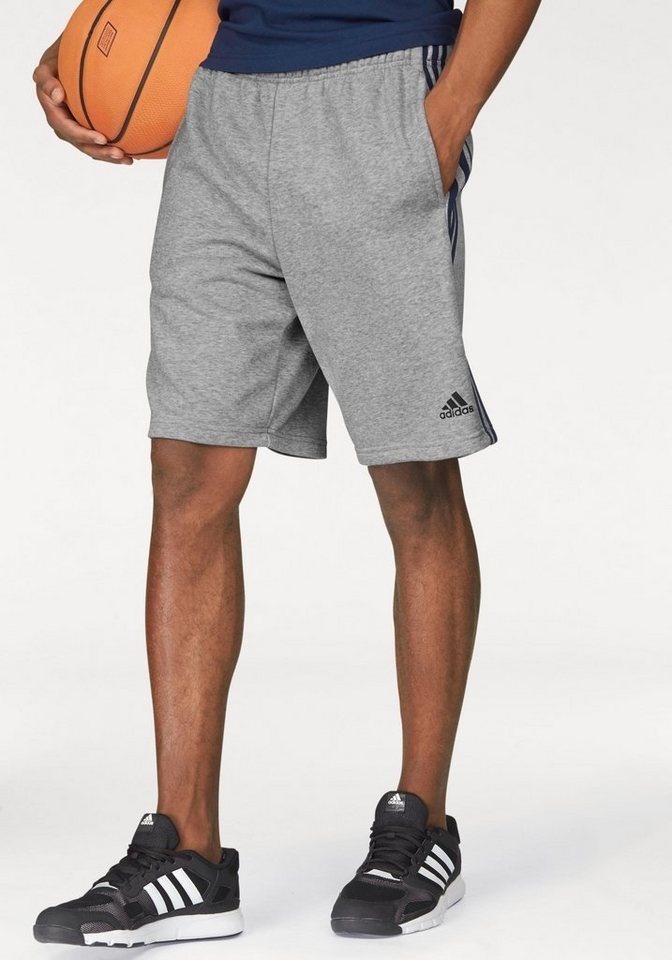 adidas Performance Shorts »ESSENTIALS 3S FRENCH TERRY SHORT« in grau-meliert