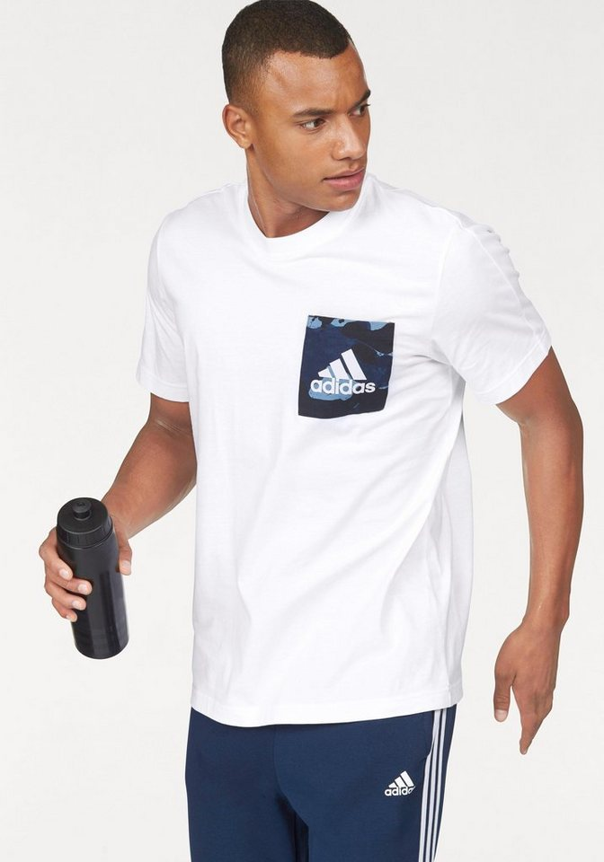 adidas Performance T-Shirt »ESSENTIALS AOP TEE« in weiß