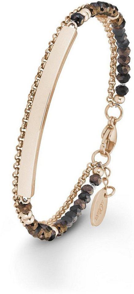 s.Oliver RED LABEL Armband »2012504« mit Glassteinen in roségoldfarben-braun-schwarz