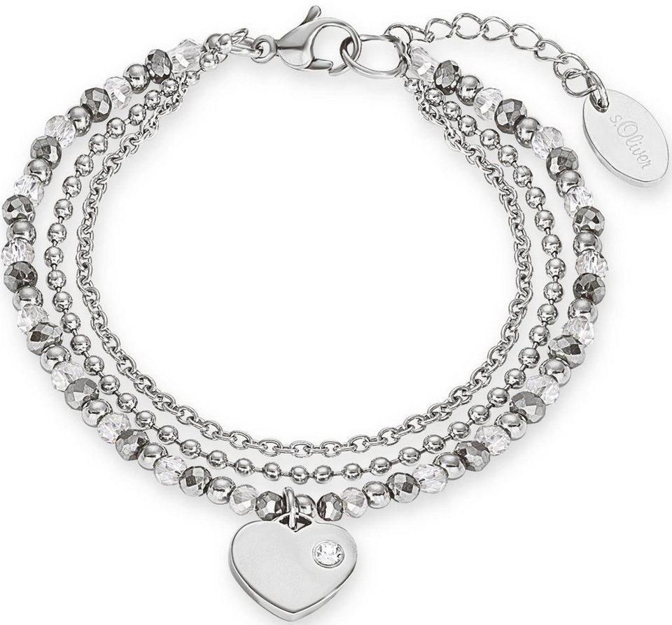 s.Oliver RED LABEL Armband »Herz, 2012530« mit Glassteinen in edelstahlfarben