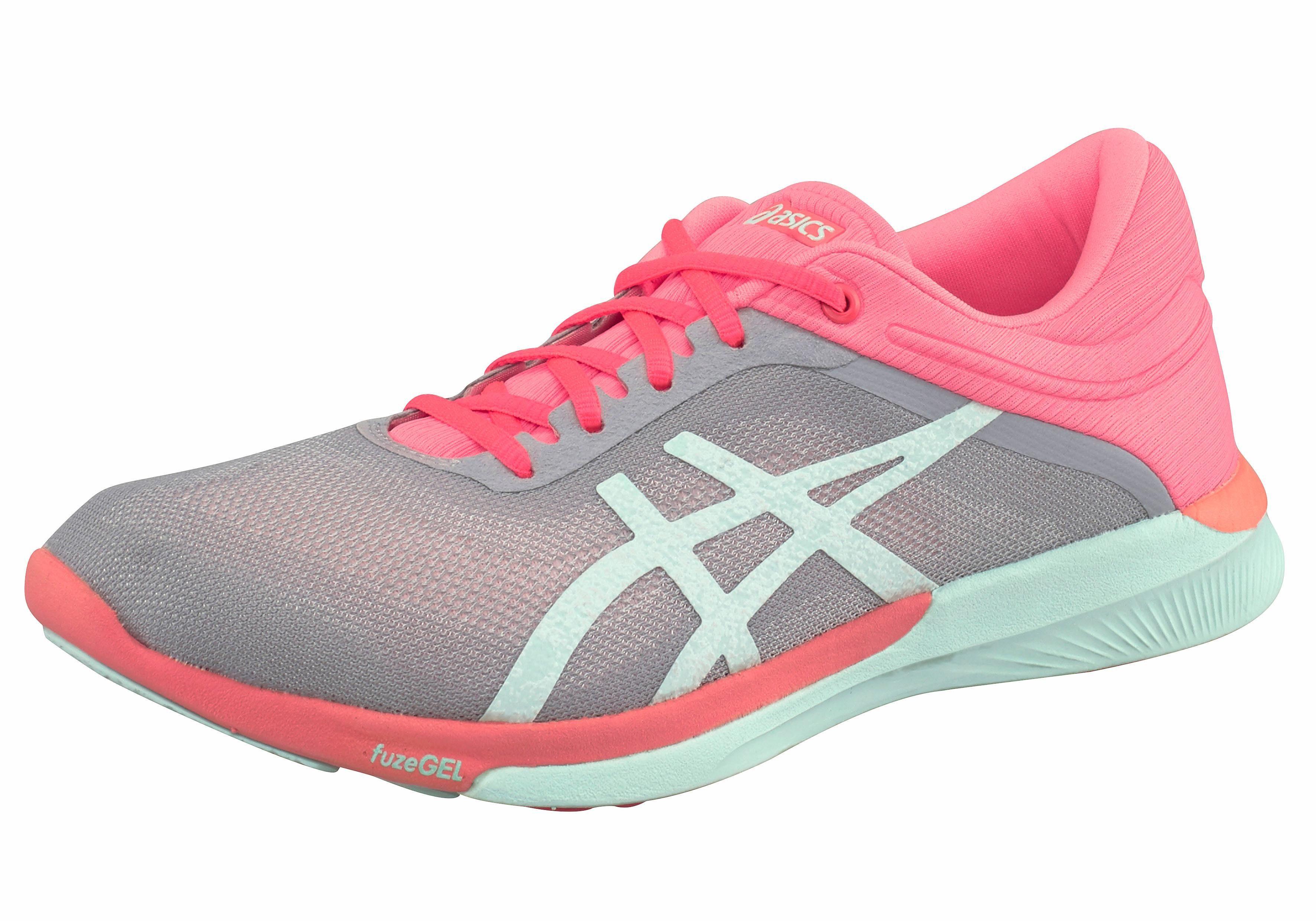 Asics FuzeX Rush Laufschuh online kaufen  grau-neonpink-mint