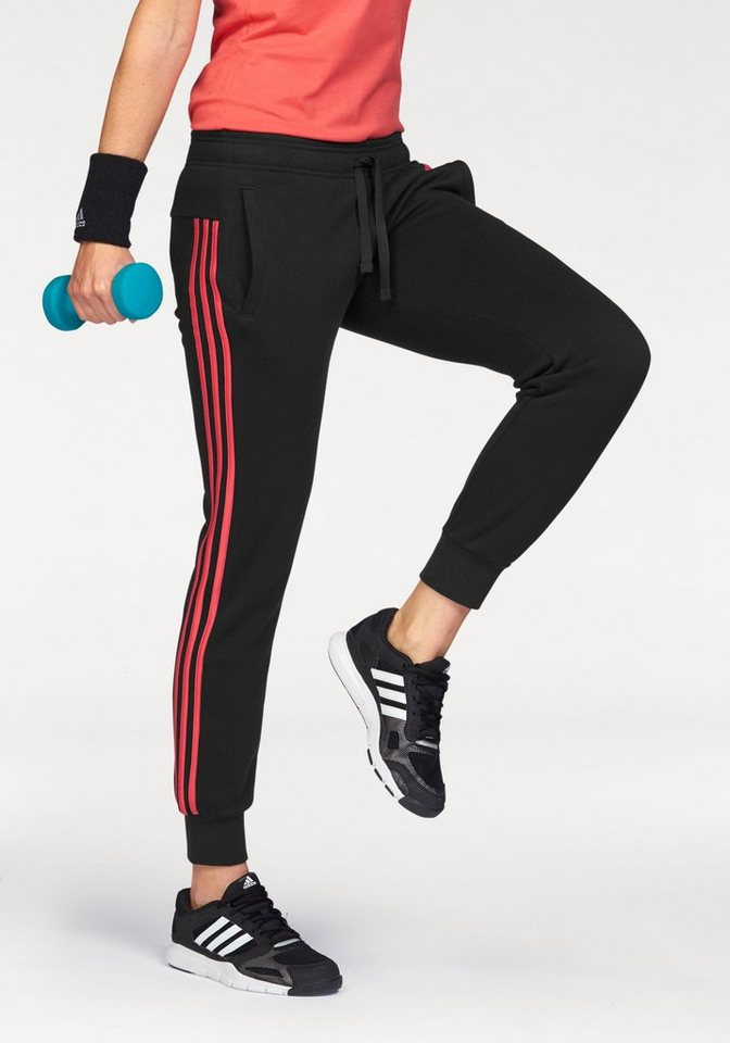 adidas Performance Jogginghose »ESSENTIALS 3 STRIPES PANT CUFFED« in schwarz-pink