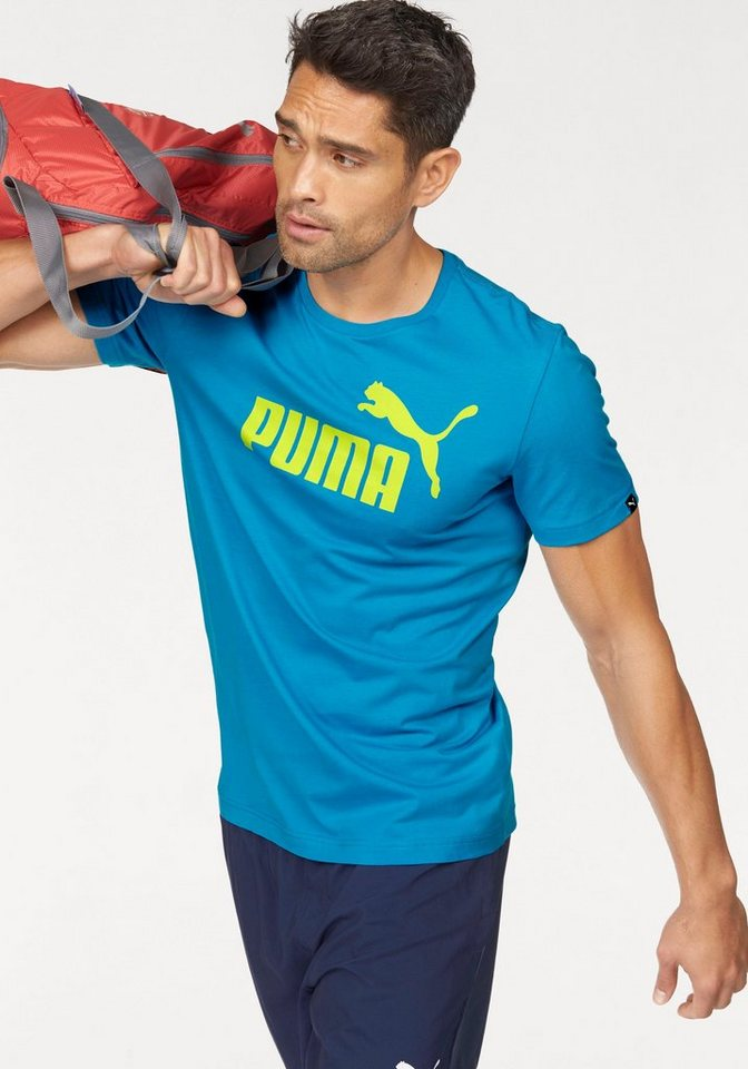 PUMA T-Shirt »ESS NO.1 TEE« in blau-gelb