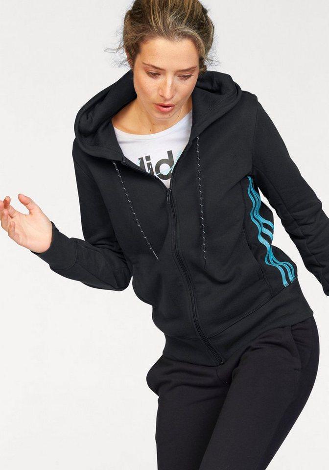 adidas Performance Kapuzensweatjacke »ESSENTIALS MID 3S HOODIE« in schwarz-blau
