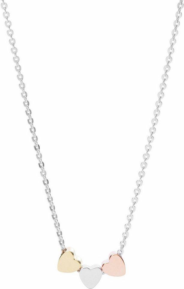 Fossil Kette mit Anhänger »Herzen, Sterling Silver, JFS00400998« in Silber 925-roségoldfarben-goldfarben