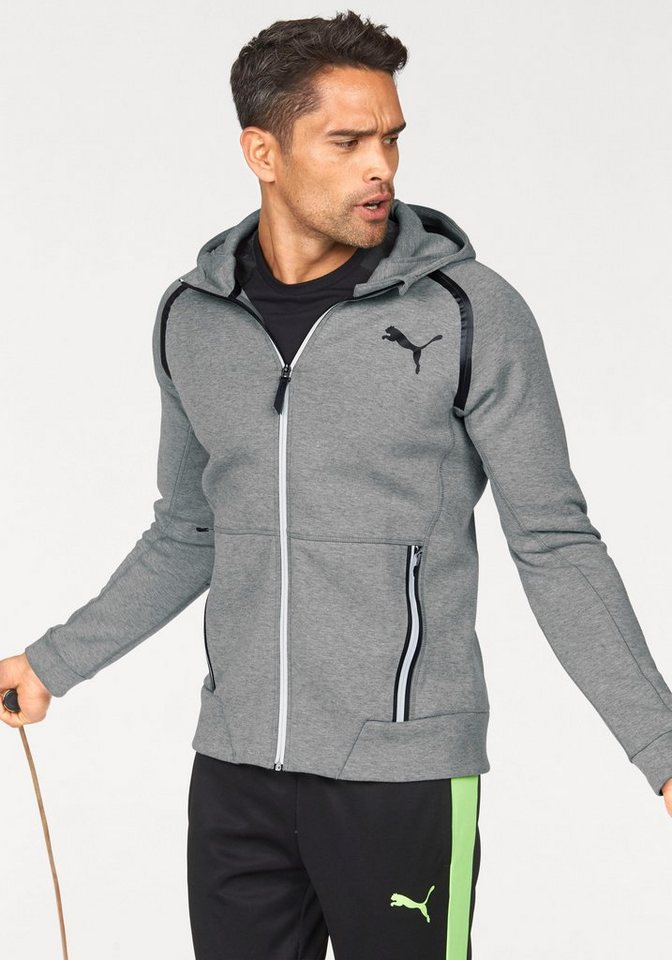 PUMA Sweatjacke »POWER FULL ZIP« in grau-meliert