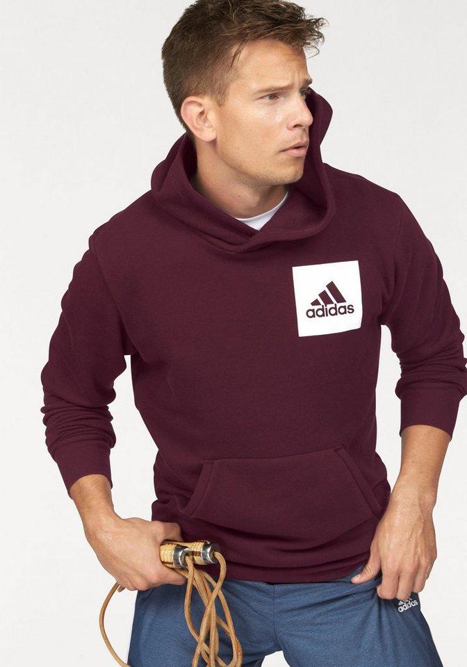 adidas Performance Kapuzensweatshirt »ESSENTIALS CHEST LOGO PULLOVER HOOD FLEECE« in bordeaux