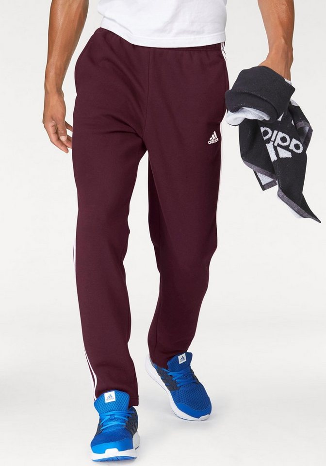 adidas Performance Jogginghose »ESSENTIALS 3S TAPERED FLEECE PANT« in bordeaux-weiß