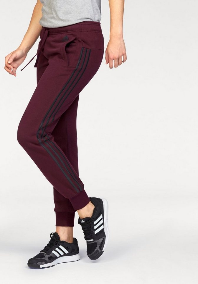 adidas Performance Jogginghose »ESSENTIALS 3 STRIPES PANT CUFFED« in bordeaux