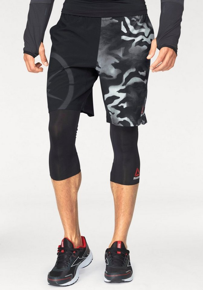 Reebok Shorts »CAMO SPEED SHORT« in schwarz-gemustert