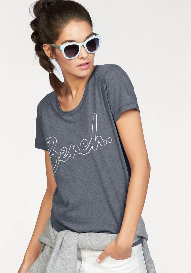 Bench T-Shirt »LOW NECK CORP TEE« in graublau