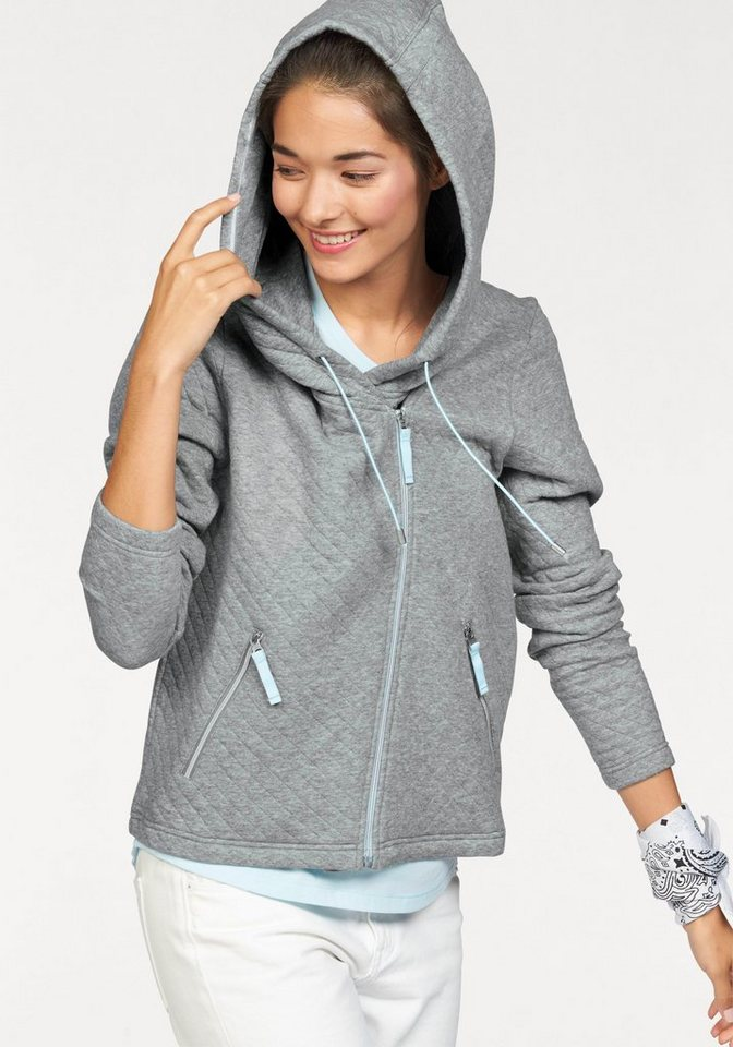 Bench Kapuzensweatjacke »QUILTED ZIP THROUGH« in grau