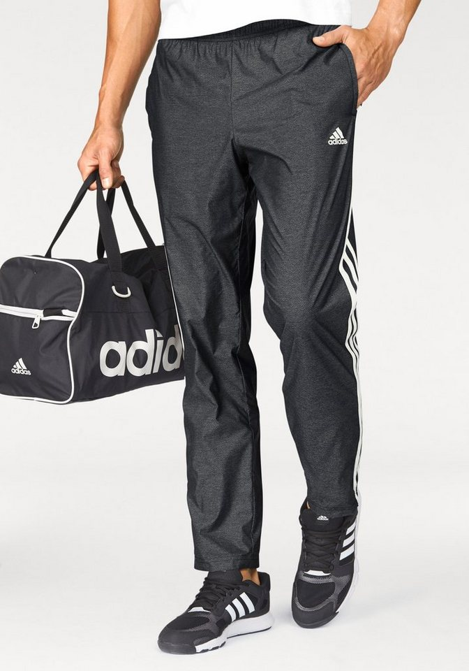 adidas Performance Sporthose »ESSENTIALS 3 STRIPE WOVEN PANT« in anthrazit