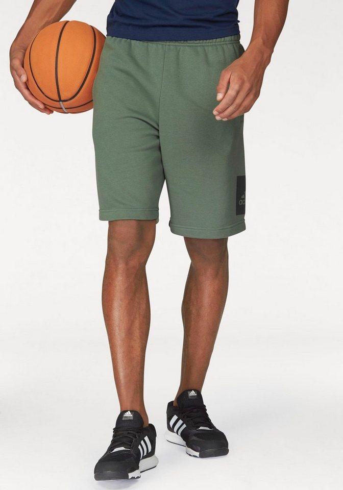 adidas Performance Shorts »ESSENTIALS BOX LOGO FRENCH TERRY SHORT« in grün