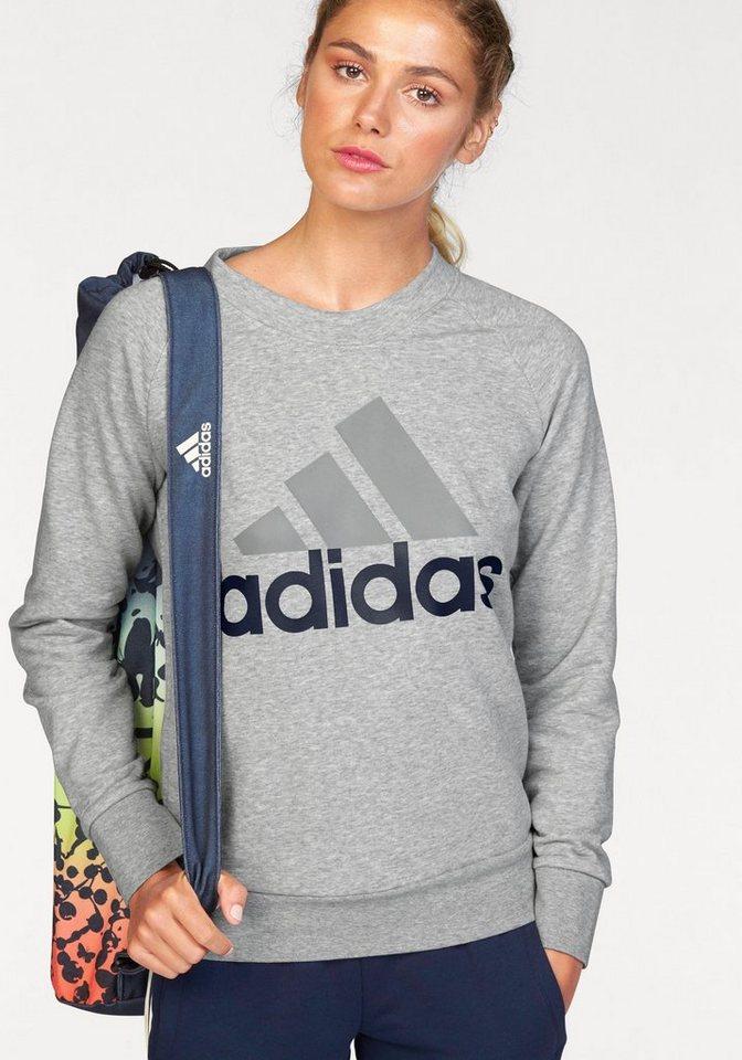 adidas Performance Sweatshirt »ESSENTIALS LINEAR CREWNECK SWEATSHIRT« in grau-meliert
