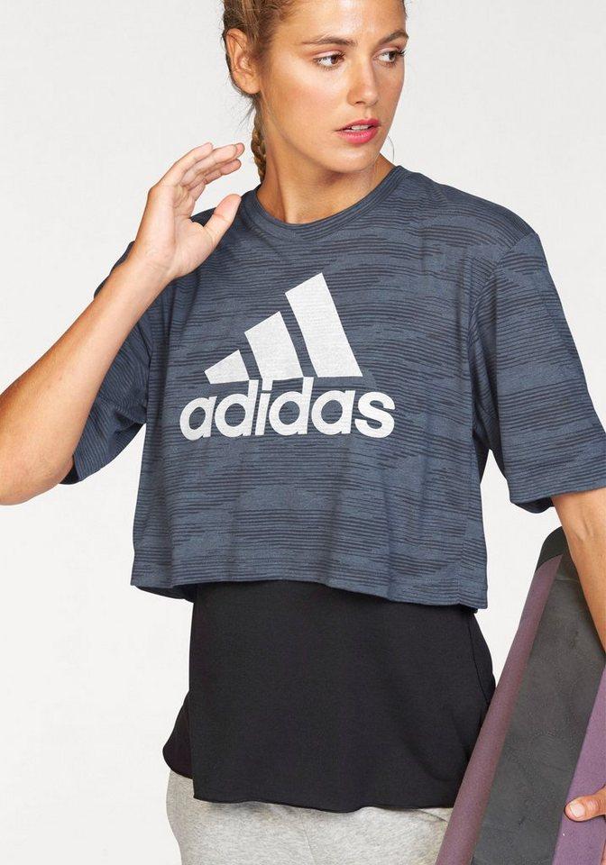adidas Performance T-Shirt »BOXY CROP TEE AEROKNIT« in graublau