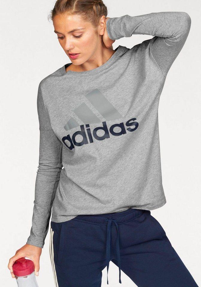 adidas Performance Langarmshirt »ESSENTIALS LINEAR LONGSLEEVE« in grau-meliert-marine