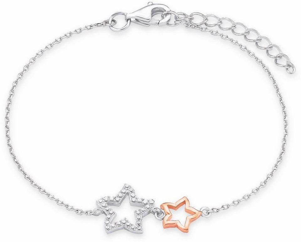 Amor Armband »Sterne, NE123/4, 570886« mit Zirkonia in Silber 925-roségoldfarben