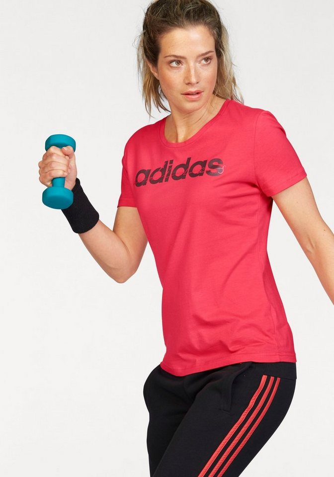 adidas Performance T-Shirt »SPECIAL LINEA« mit Glitzer Druck in pink-bordeaux