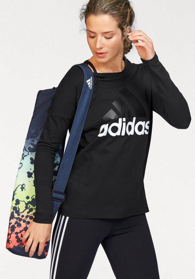 adidas Performance Langarmshirt »ESSENTIALS LINEAR LONGSLEEVE« in schwarz-weiß