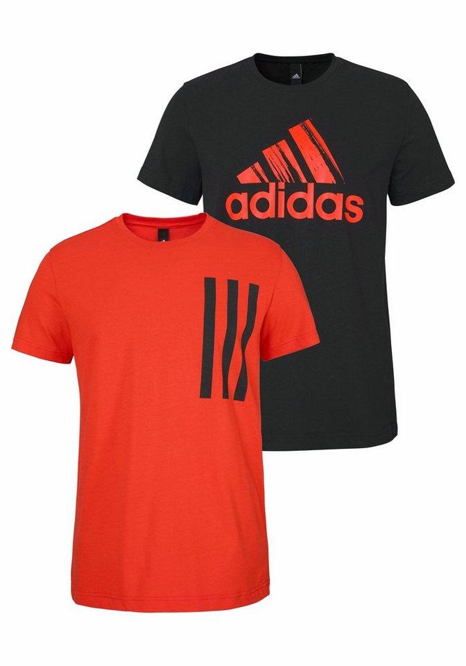 adidas Performance T-Shirt »2IN1 PACK« (Packung, 2er-Pack) in orange-schwarz+schwarz-orange
